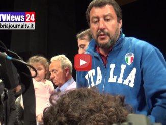 Ministro Salvini a Foligno, sostiene Stefano Zuccarini, intervista Massimo Pompei