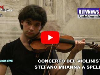 Violinista Stefano Mhanna concerto a Spello ad agosto, sua video performance