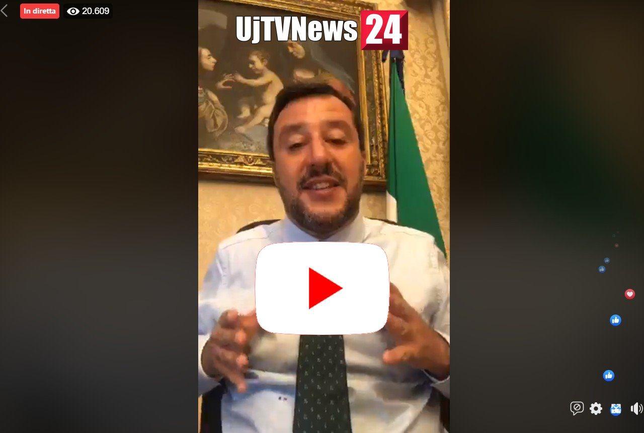 Matteo Salvini diretta streaming, li ho smascherati, taglio parlamentari e poi voto