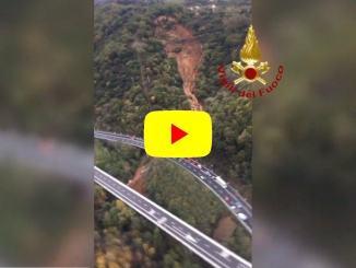 Crollo tratto viadotto sulla Torino-Savona A6 a causa del maltempo VIDEO