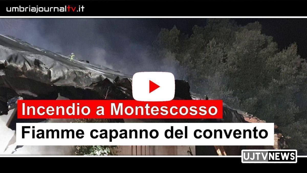 Incendio al convento di Montescosso, fiamme e danni in un capanno