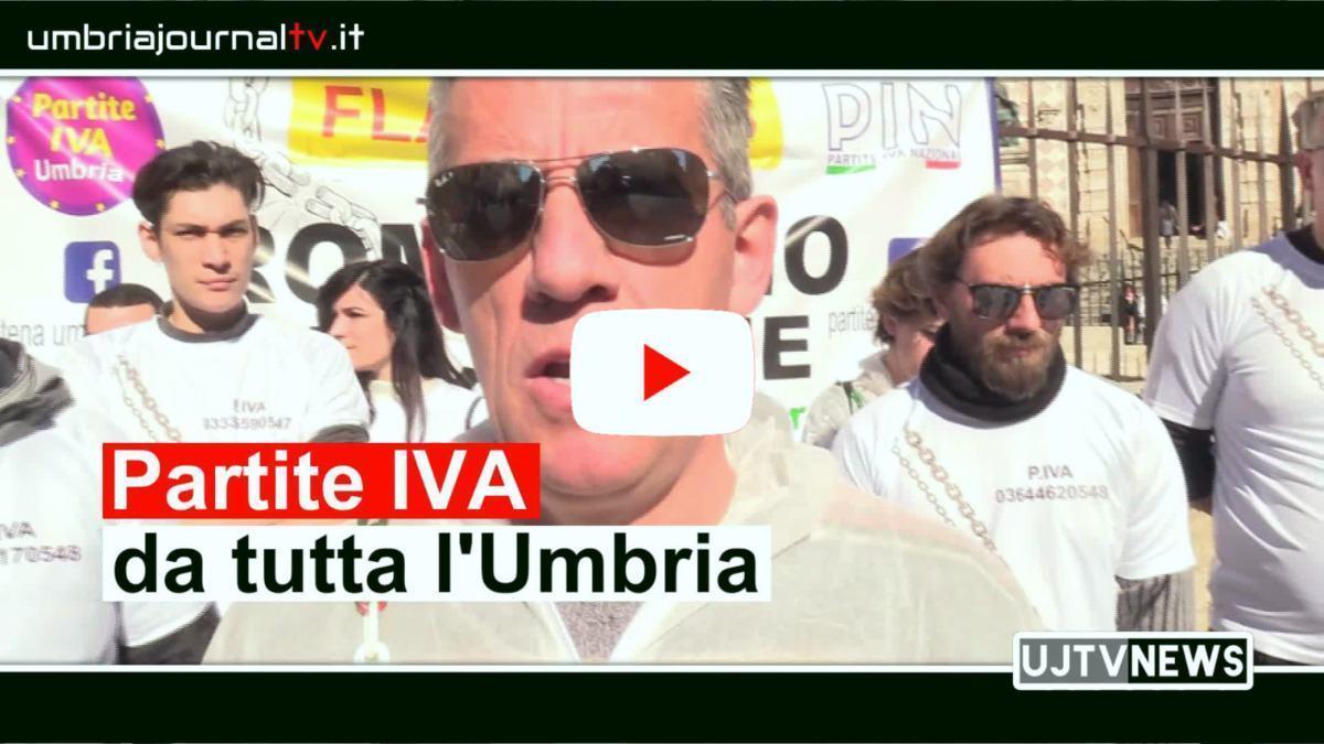 Partite IVA, manifestazione a Perugia, intervista a Giuseppe Vingali