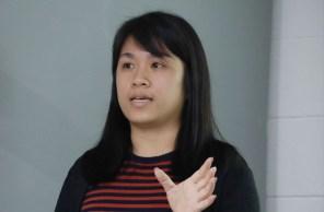 硕士生江贵莲讲述研究范围。