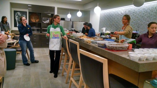 Angie Sullivan giving a tour of amazing eating in the student lounge
