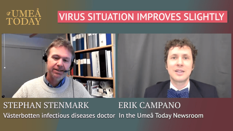 Stephan Stenmark, Västerbotten infectious control physician, speaks with Umeå Today's Erik Campano about the past week's decline in numbers of hospitalized and deceased patients due to coronavirus.