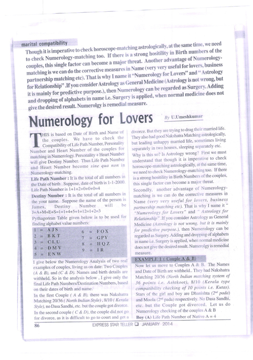 Page 1 Numerology for lovers