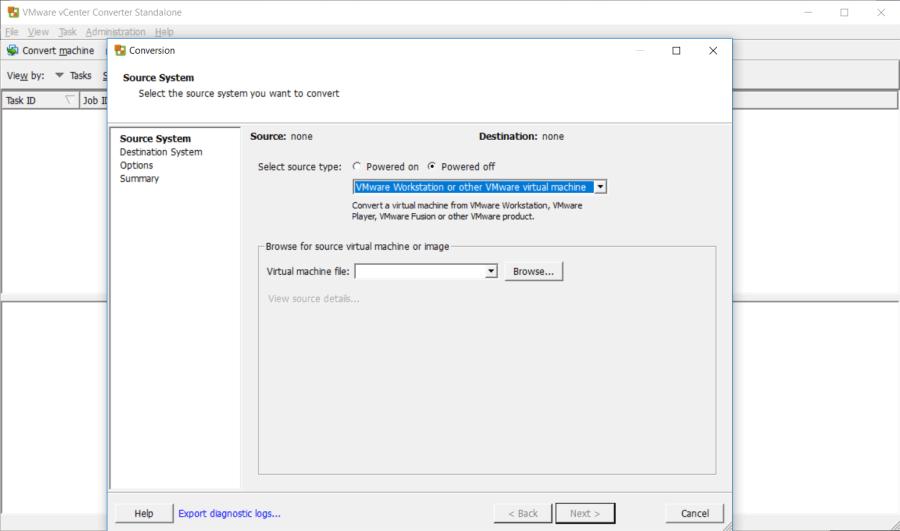 VMware vCenter Converter - Conversion