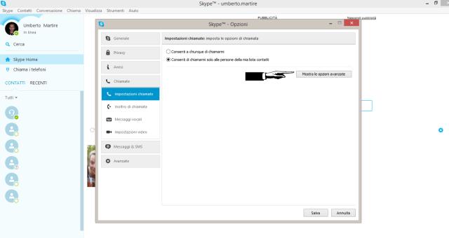 Skype-impostazioni