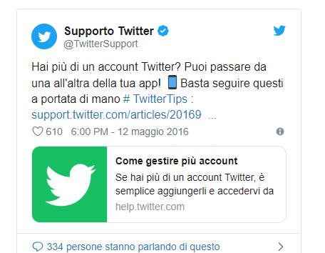 Esempio di un Tweet con un hashtag