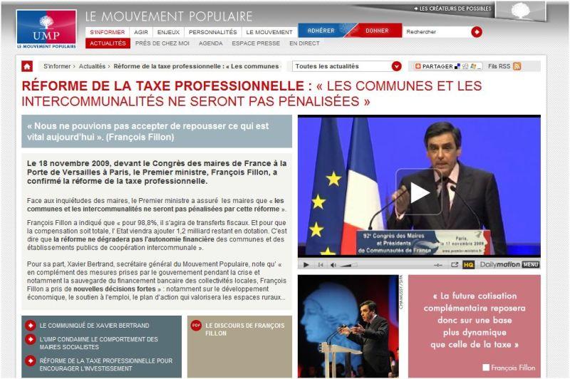 Le nouveau site web de l'UMP : s'informer