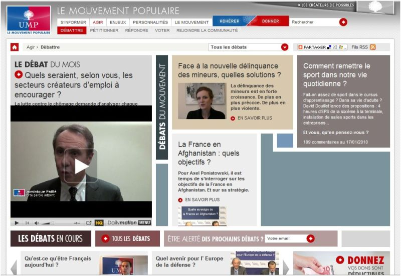 Le nouveau site web de l'UMP : agir et participer
