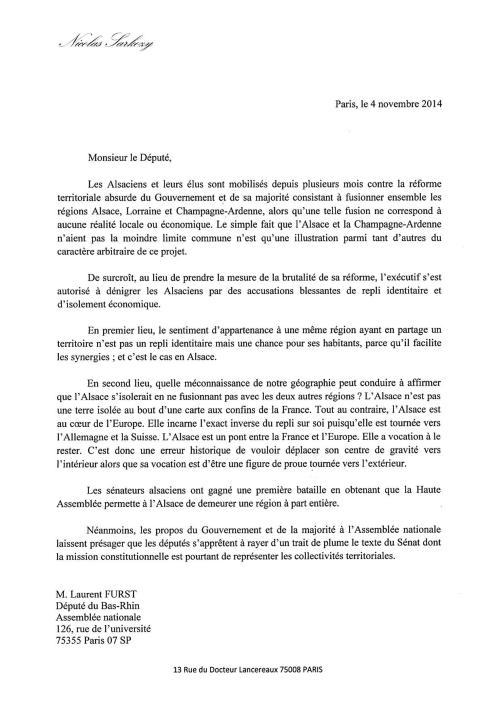 Lettre NS à Laurent FURST - Alsace recto