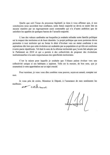 Lettre NS à Laurent FURST - Alsace verso