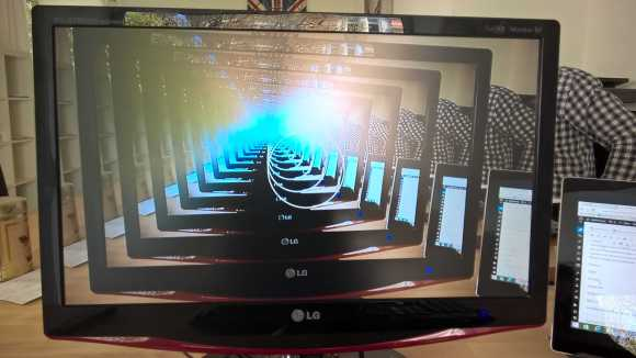 What happens when you take a picture of a mirrored Lumia 830 camera preview