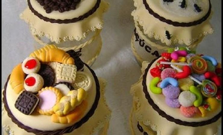 15 Potes Decorados com Biscuit para Cozinha