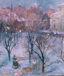 Bryant Park Twilight by Gari Melchers circa 1906-1907