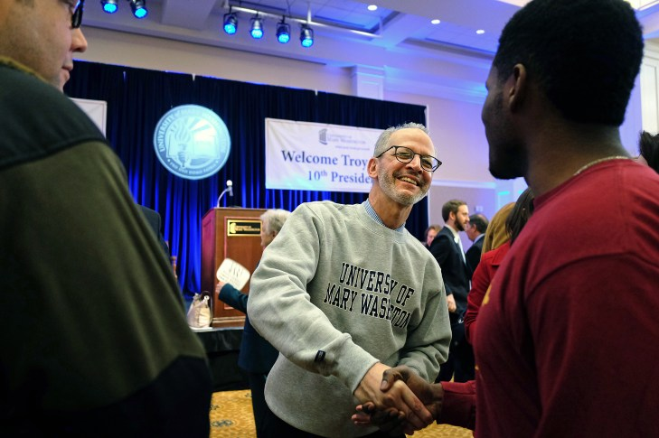 UMW welcomes it's 10th president, Dr. Troy Paino in a ceremony, Friday, February 19, 2016. (Photo by Norm Shafer).