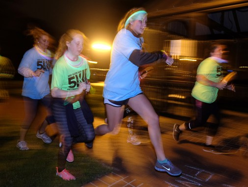 Glow Run at UMW, Wednesday April 19, 2017. (Photo by Norm Shafer).