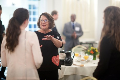 Roberta MacDonald '72 spoke to area business leaders at an Executive-in-Residence breakfast.