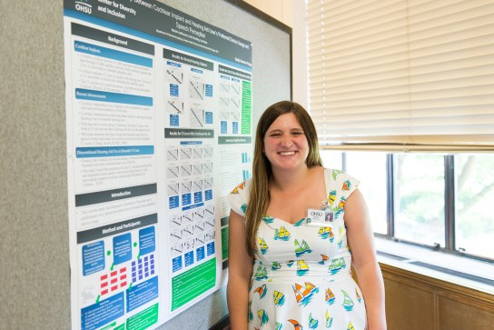 Junior Rebekah Funkhouser completed a summer internship at the Oregon Hearing Research Center. She studied cochlear implant users, like herself.