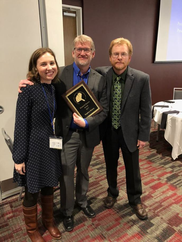 Professor of Geography Stephen Hanna won the Research Honors Award for his work in critical and cultural geography at last month's Southeastern Division of the Association of American Geographers (SEDAAG) conference in Mississippi.