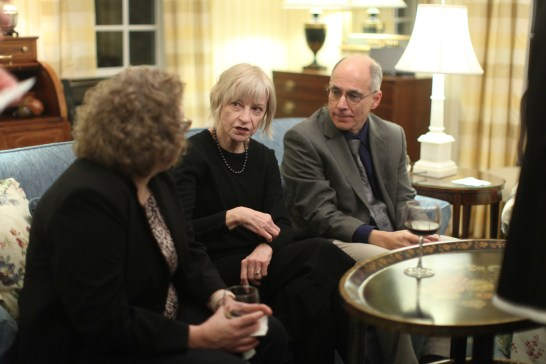 """Retired faculty member Jane Gatewood, center, took part in a dinner with """"Code Girls"""" author Liza Mundy. Gatewood's mother was among 10,000 women recruited to crack Japanese codes that sunk the enemy's supply ships and shortened the war. The women's work freed up men for the fight. (Karen Pearlman)"""