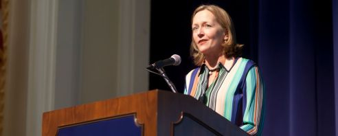 """Best-selling author Liza Mundy first came to UMW as a high school student for Governor's School. She returned last week to talk about """"Code Girls: The Untold Story of the American Women Code Breakers of World War II,"""" as part of the Great Lives lecture series. (Karen Pearlman)"""