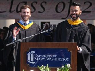 Robert Davis, left, and Abbas Haider urged graduates to take risks.