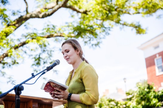Kit Lewers '19, an English major from Georgia, reads from Gone With the Wind. (Dave Ellis)