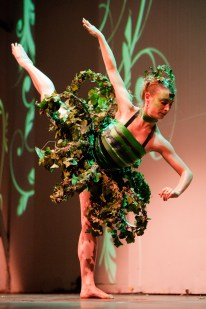 Perry, shown here at a wearable art fashion show in Toulouse, France, made this dress from living greenery.