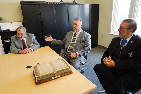This month, Masons from Fredericksburg Lodge No. 4 met with UMW team responsible for digitally preserving their most prized relic.