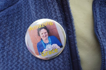 Well-wishers donned 'Amazing Grace' buttons to show their affection for the three-time Special Olympian.