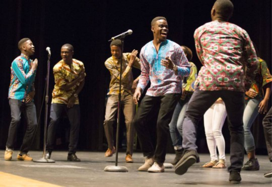 Members of the UBUMWE Burundian Youth Choir perform at the community-wide Martin Luther King Jr. Day Celebration at James Monroe High School in Fredericksburg. . Photo courtesy of Nehemia Abel.