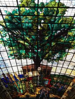 Stained glass ceiling in El Museo de Euskal Herria. Photo courtesy of Bobby Leytham.