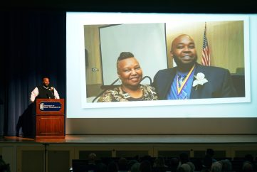 """During his presentation, Robinson shared professional and personal photos, including this one of his mother, who he calls his """"inspiration."""" Photos by Suzanne Carr Rossi."""