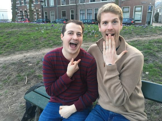 Aaron McPherson (right) looks surprised with Evan Smallwood's wedding proposal during a 10-day trip to Europe. McPherson later proposed, as well, at UMW's amphitheatre, where the two married.