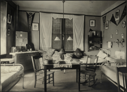 Willard Hall resident room, circa 1915. Special Collections and University Archives.