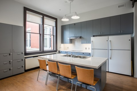 After a $19.3 million renovation, Willard Hall features modern features like the kitchen, which was designed to accommodate culinary demonstrations. Photo by Craig Hutson, Kjellstrom and Lee Construction.