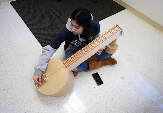 Abirami Krishnan, 16, of Fairfax High School plays the 'Veena' instrument in the Sounds of Music competition. Krishnan was one of 660 Northern Virginia middle- and high-school students who participated in the 2020 Virginia Science Olympiad (VASO) regional qualifying round at UMW Saturday. Photos by Suzanne Carr Rossi.