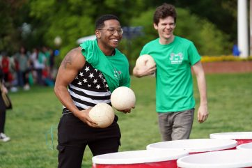 Students play a game of giant cup-pong at the 2019 Devil Goat Day event. Photo by Suzanne Carr Rossi.