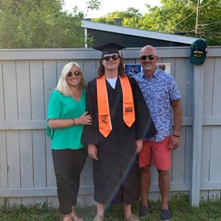 The Shepherds celebrate son Carter, who recently graduated from James Monroe High School.