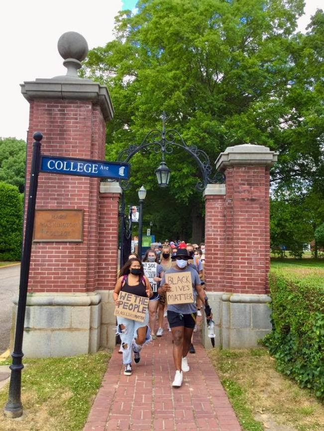 Earlier this summer, University of Mary Washington students, faculty and staff took part in a march from Campus Walk through downtown Fredericksburg to affirm their support for the Black Lives Matter movement.