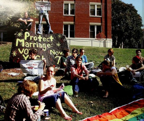PRISM leads a group of student protestors of the marriage amendment at Spirit Rock in 2007. Photo courtesy of UMW Libraries' Special Collections and University Archives/Battlefield Yearbook.