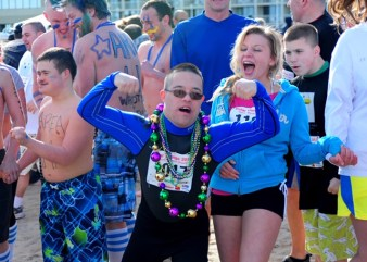 "Special Olympian Matthew Doyle prepares for a Polar Plunge fundraiser at Virginia Beach. As a Special Olympics global messenger, Doyle often delivers public presentations based on his motto, ""Opening hearts, changing minds."""