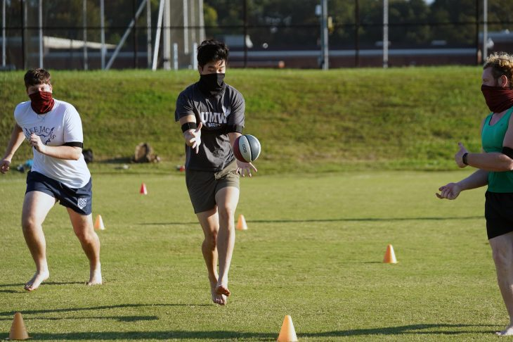 The UMW Men's Rugby team practices on the athletic fields. Photo by Suzanne Carr Rossi.