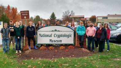 UMW students pose during a pre-pandemic trip to the National Cryptologic Museum in Maryland.