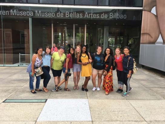 Chloe Morton (fifth from left), seen here in summer 2017 with fellow UMW students, spent a summer studying abroad at the Universidad de Deusto in Bilbao while attending UMW. She's now working in a primary school as a language assistant for English, natural science and social science classes.