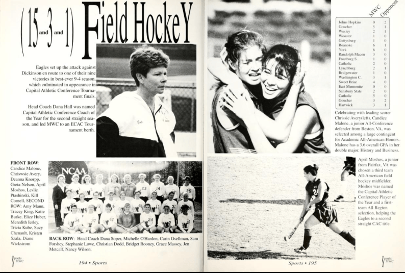 A 1993 Battlefield yearbook spread shows Long (top right photo, at right) hugging her teammate. Coach Dana Hall (top left) led them to victory, with Long pictured (bottom left photo, lower left corner) with Hall of Fame Eagles teammates.