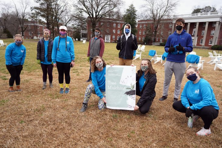 Students helped Tree Fredericksburg with mulching and caring for trees in Kenmore Park as part of the MLK Day of Service. Photo by Suzanne Carr Rossi.