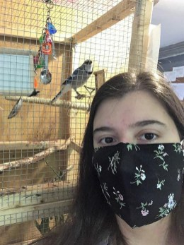 Junior Maddie Lichter, a conservation biology major and data science minor, is exploring the effect of habitat conditions on the nestlings of the American kestrel, a small falcon species in decline. Photo Credit: Smithsonian-Mason School of Conservation.